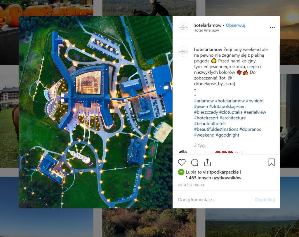 Hotel Arłamów - zdjęcie z drona - printscreen z IG