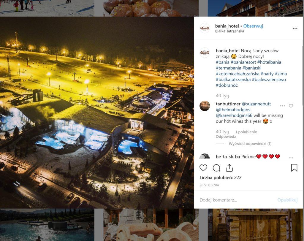 Hotel Bania - printscreen z ich instagrama. stok narciarski nocą