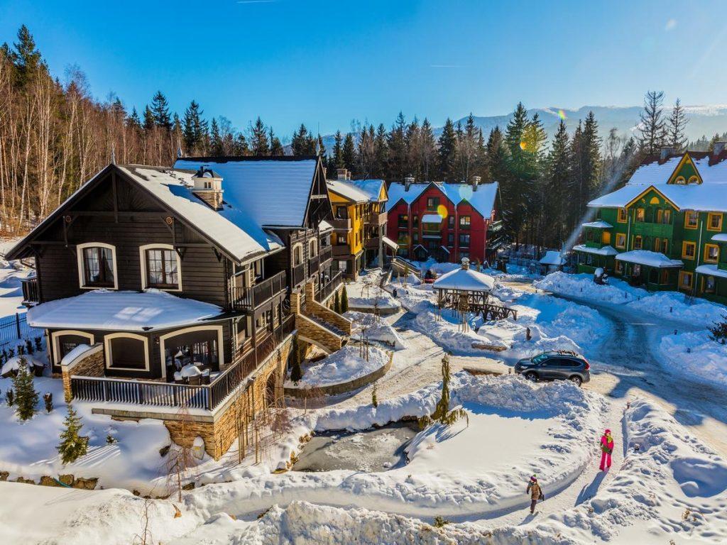 Norweska Dolina Luxury Resort - widok z lotu ptaka w ferie zimowe