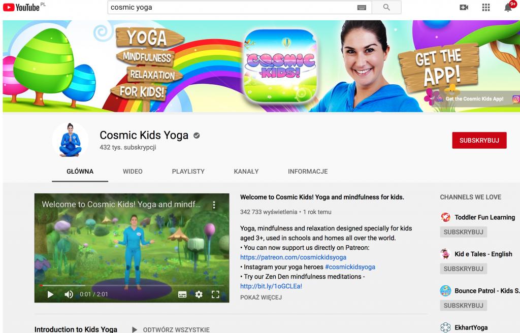 zabawy dla dzieci w domu - Cosmic Kids Yoga