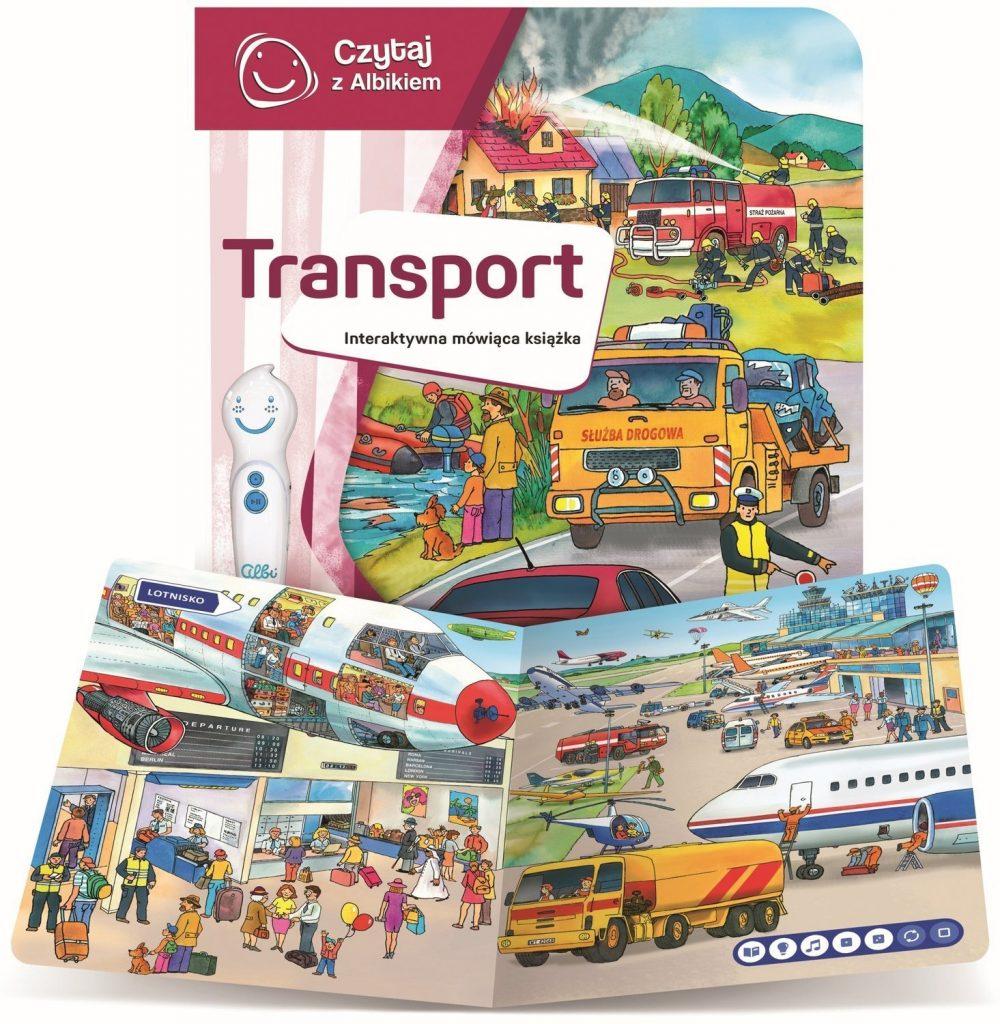 strona i okładka książki z serii Czytaj z Albikiem - transport