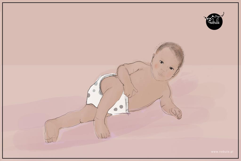 dziecko leży w pozycji bocznej