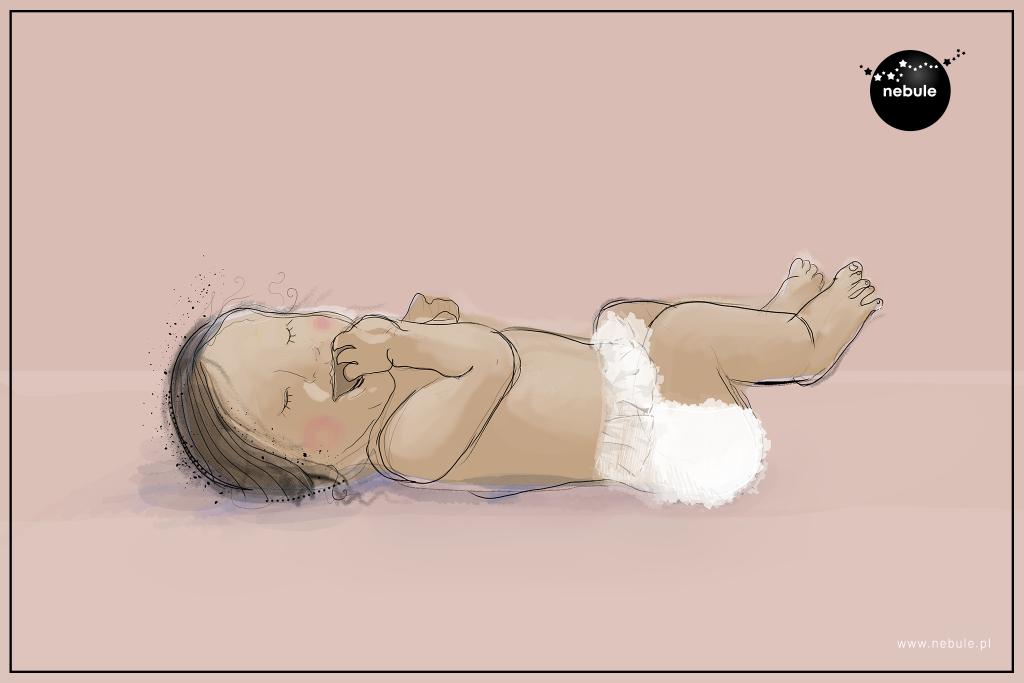 dziecko położone na plecach